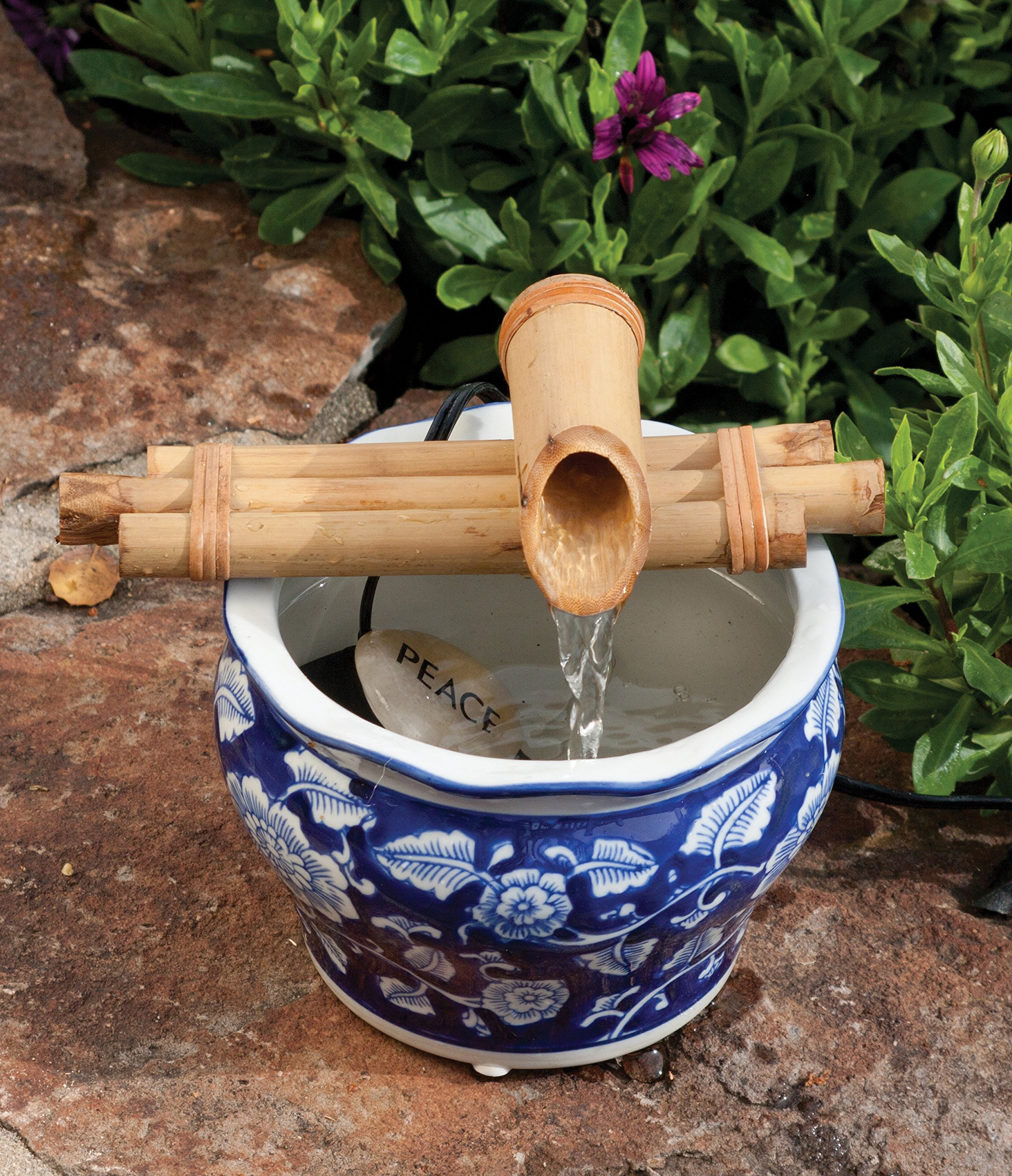 Bamboo Fountain with Pump Sman 7 Inch Three Arm Style, Indoor or Outdoor Fountain, Natural, Split Resistant Bamboo, Combine with Any Container to Create Your Own Fountain, Handmade by Bamboo Accents
