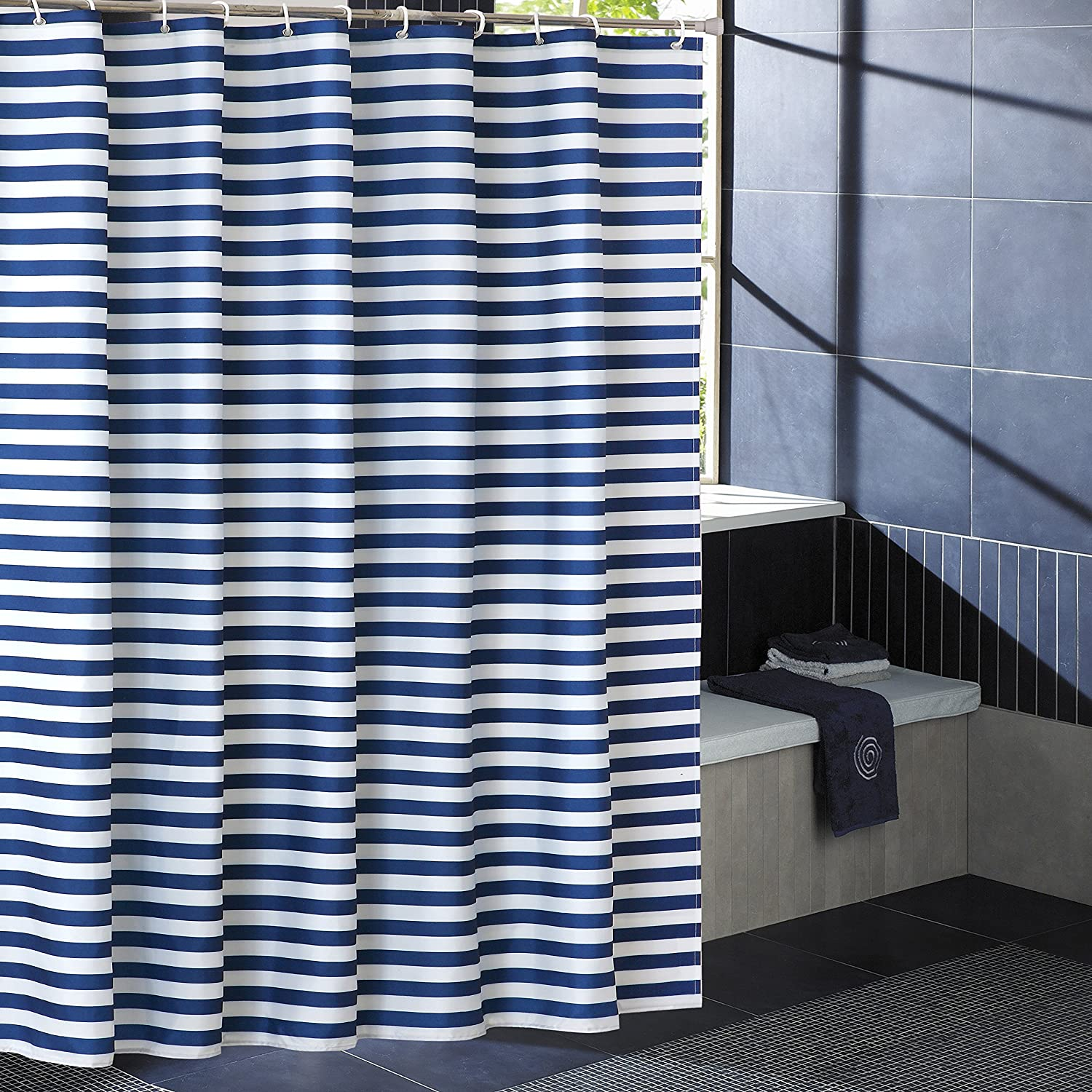 Hipaopao Navy Blue Striped Shower Curtain