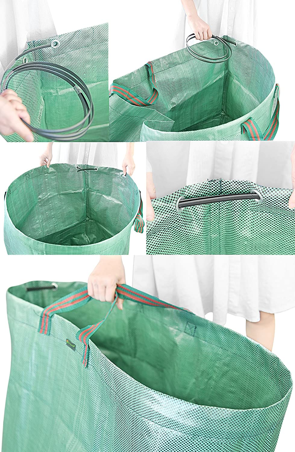 FiveSeasonStuff Pack of 3 /— 272 Liters Large Reusable Foldable Double Stitched Heavy Duty Garden Waste Bags with Flexible Stabilising Hoop