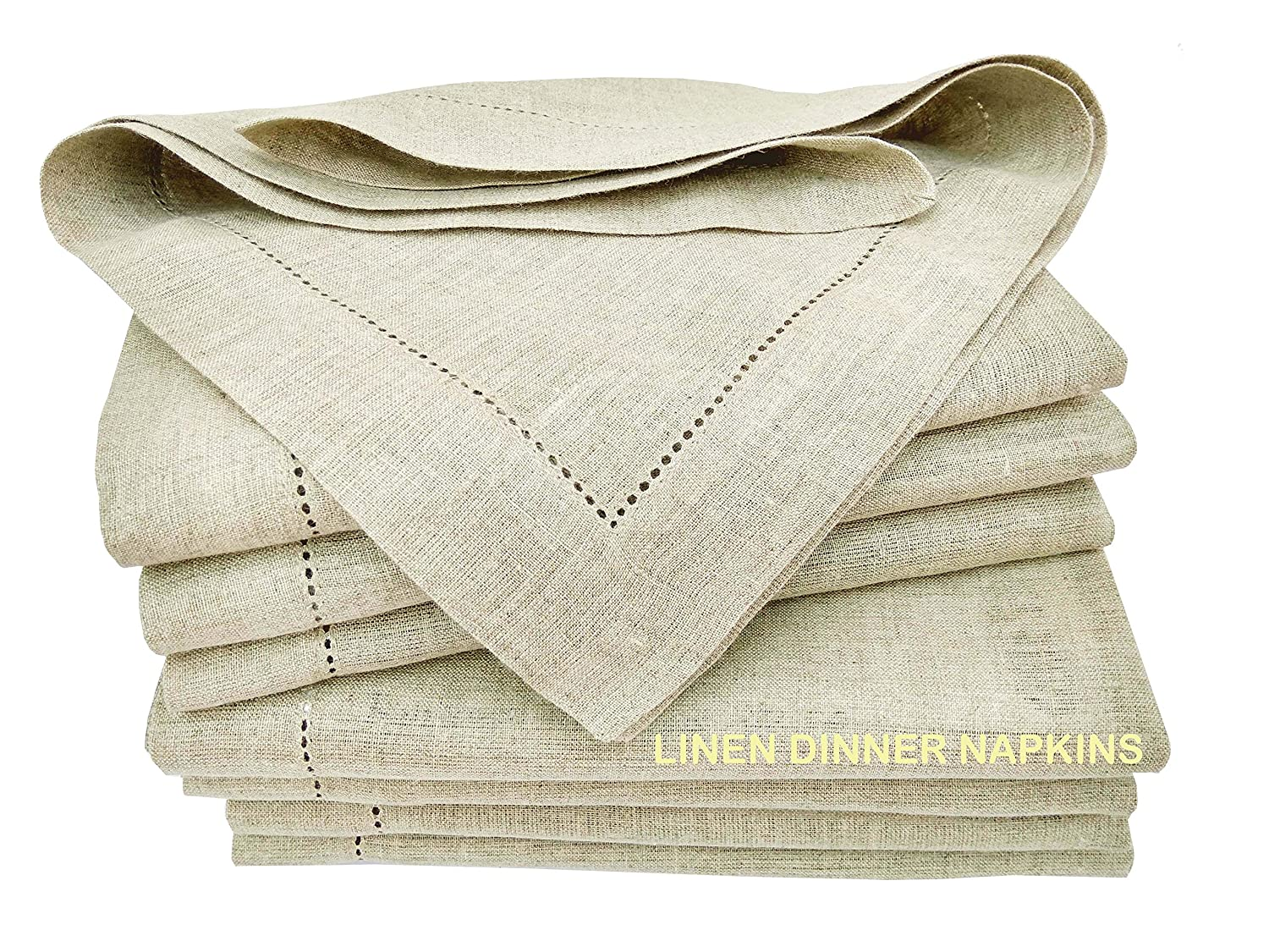 Linen Clubs - 100% Pure Linen, Dinner Napkin with Hem Stitched - Charcoal - 16x16 inches (Set of 12 Pack). Hemstitched Hand Made Ladder Lace Look Napkins. One of Life's Little Home Luxuries Green Frog International