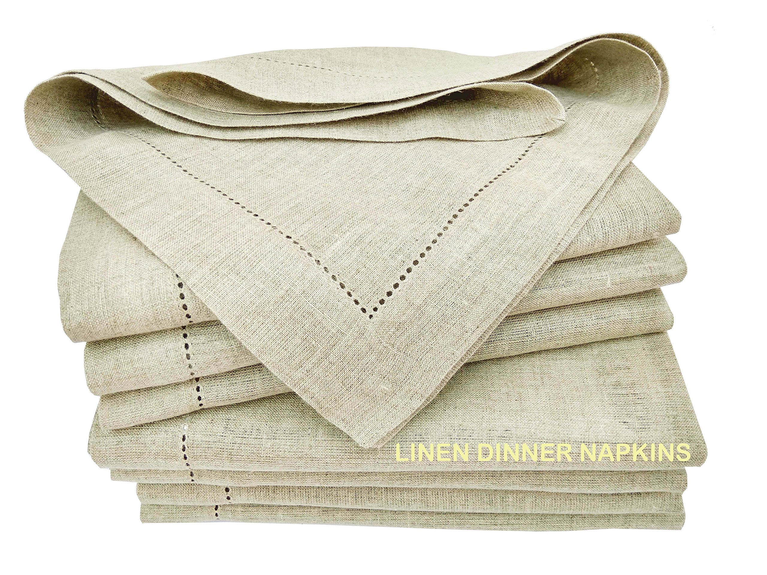 Linen Clubs Pack of 12, 100% Pure Linen Rustic Dinner Napkin with Hem Stitched 16x16, Natural Color Hemstitched Hand Made Ladder lace Look Napkins. One of Life's Little Home Luxuries