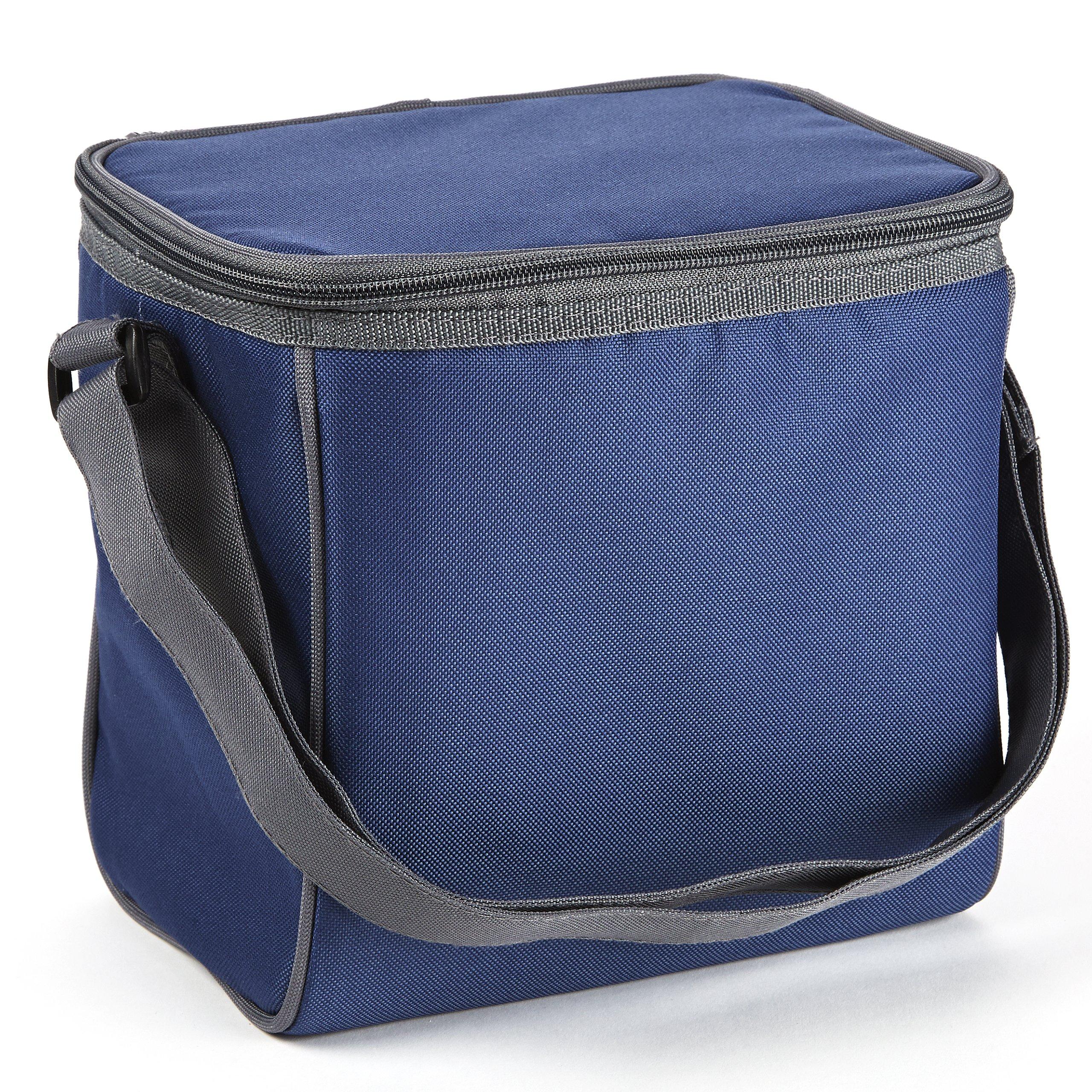 Fit & Fresh Insulated Cooler Bag with Adjustable Shoulder Strap, 6 Bottle Capacity, Versatile Cooler Bag for Men, Women, Kids, Navy