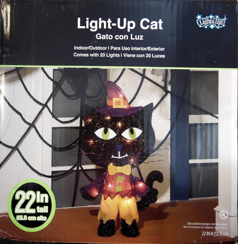 Amazon.com : Light up Black Cat Indoor, Outdoor Yard Halloween Decoration 22 Inches Tall : Garden & Outdoor