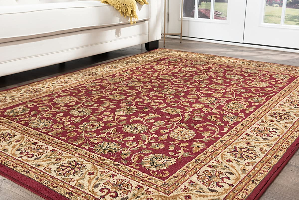 Ventura Transitional Oriental Red Octagon Area Rug, 8 Octagon