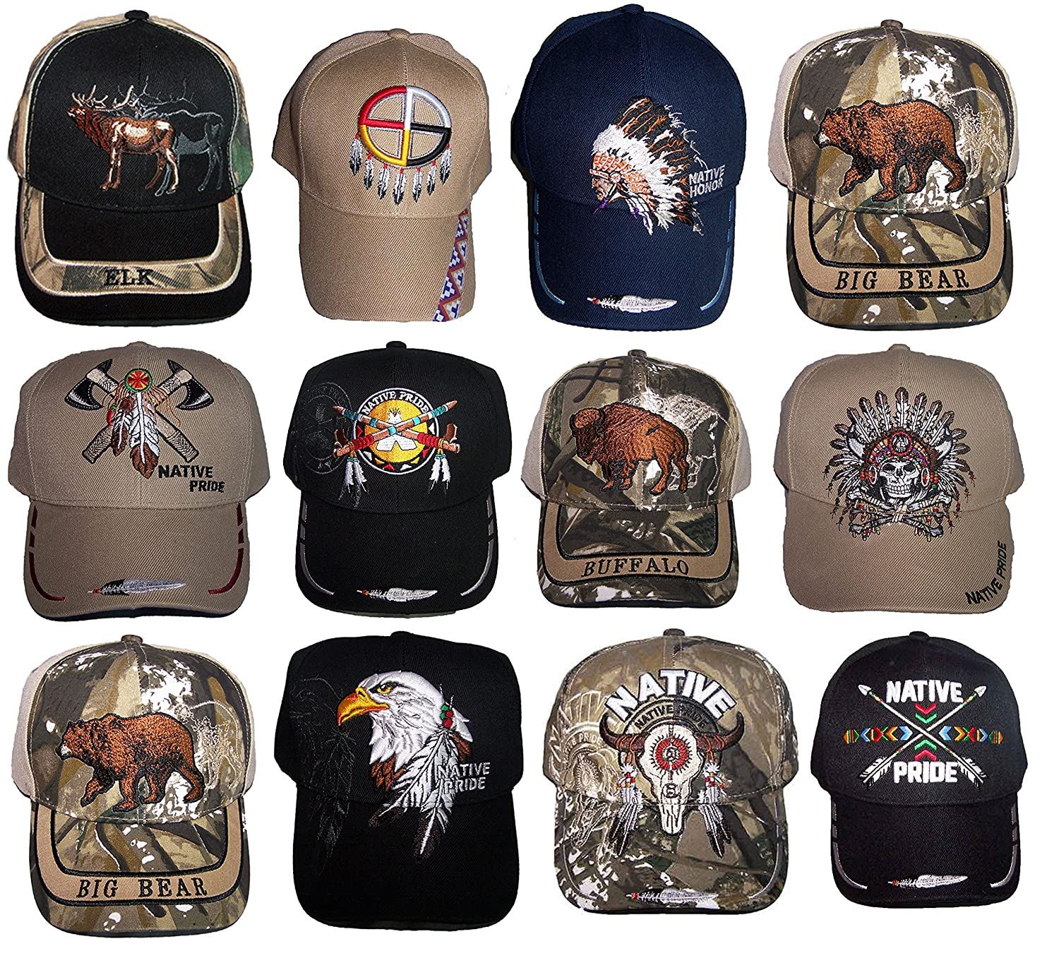 Native Pride Embroidered Baseball Caps Hats - Assorted Styles 12 Pc Pack  (CapNp-12 Z) at Amazon Men s Clothing store  05859224078
