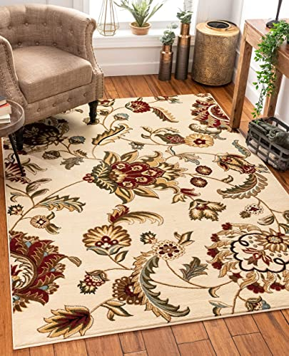 Well Woven Grand Garden Ivory Floral Oriental Modern Formal Area Rug 3×5 4×6 3'11″ x 5'3″ Easy to Clean Stain Fade Resistant Shed Free Traditional Transitional Soft Living Dining Room Rug