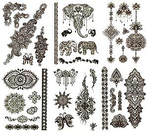 Terra Tattoos Henna Black Temporary Tattoos - 50 Fake Tattoos