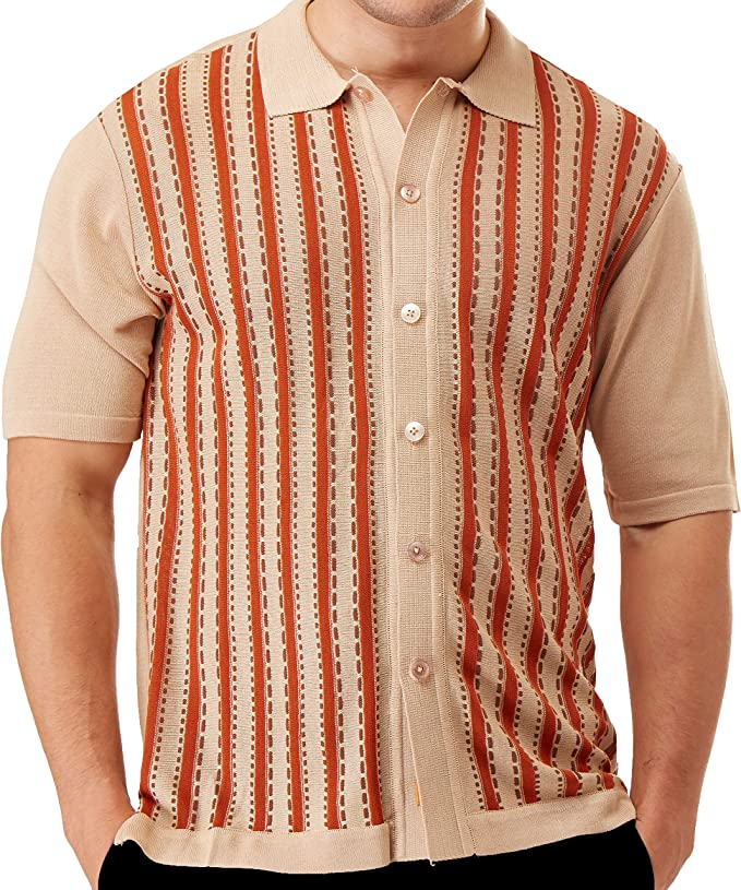 1960s Men's Fashion, 60s Fashion for Men Edition-S Men's Short Sleeve Knit Shirt- California Rockabilly Style: Vertical Line with Saddle Stitch Accents $39.00 AT vintagedancer.com