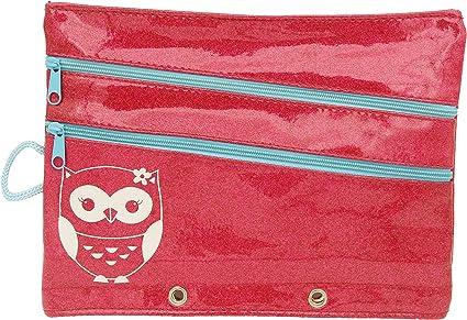 Con purpurina estuches de lápices con 3 bolsillos con cremallera bolsa multiuso para anillas, estuche, color hot pink: Amazon.es: Oficina y papelería
