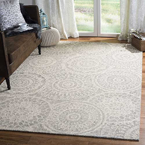 Safavieh Abstract Collection ABT205B Contemporary Handmade Ivory and Grey Premium Wool Area Rug 8 x 10