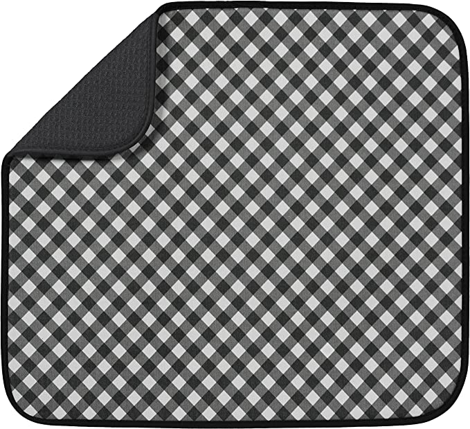 Mainstream Dish Drying Mat Buffalo Plaid and Snowflakes for Christmas Reversible Black Waffle Design 15 x 20 inches