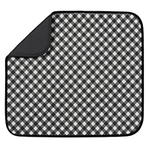 "S&T Microfiber Dish Drying Mat, 16"" x 18"", Black Gingham"