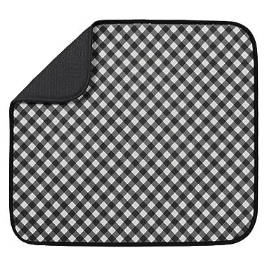 S&T Microfiber Dish Drying Mat, 16  x 18 , Black Gingham