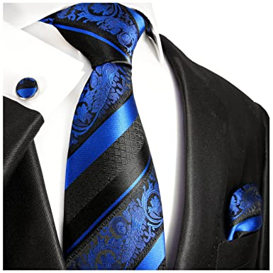 7b7eaff29e95 Image Unavailable. Image not available for. Color: Royal Blue and Black Silk  Tie with Pocket Square ...