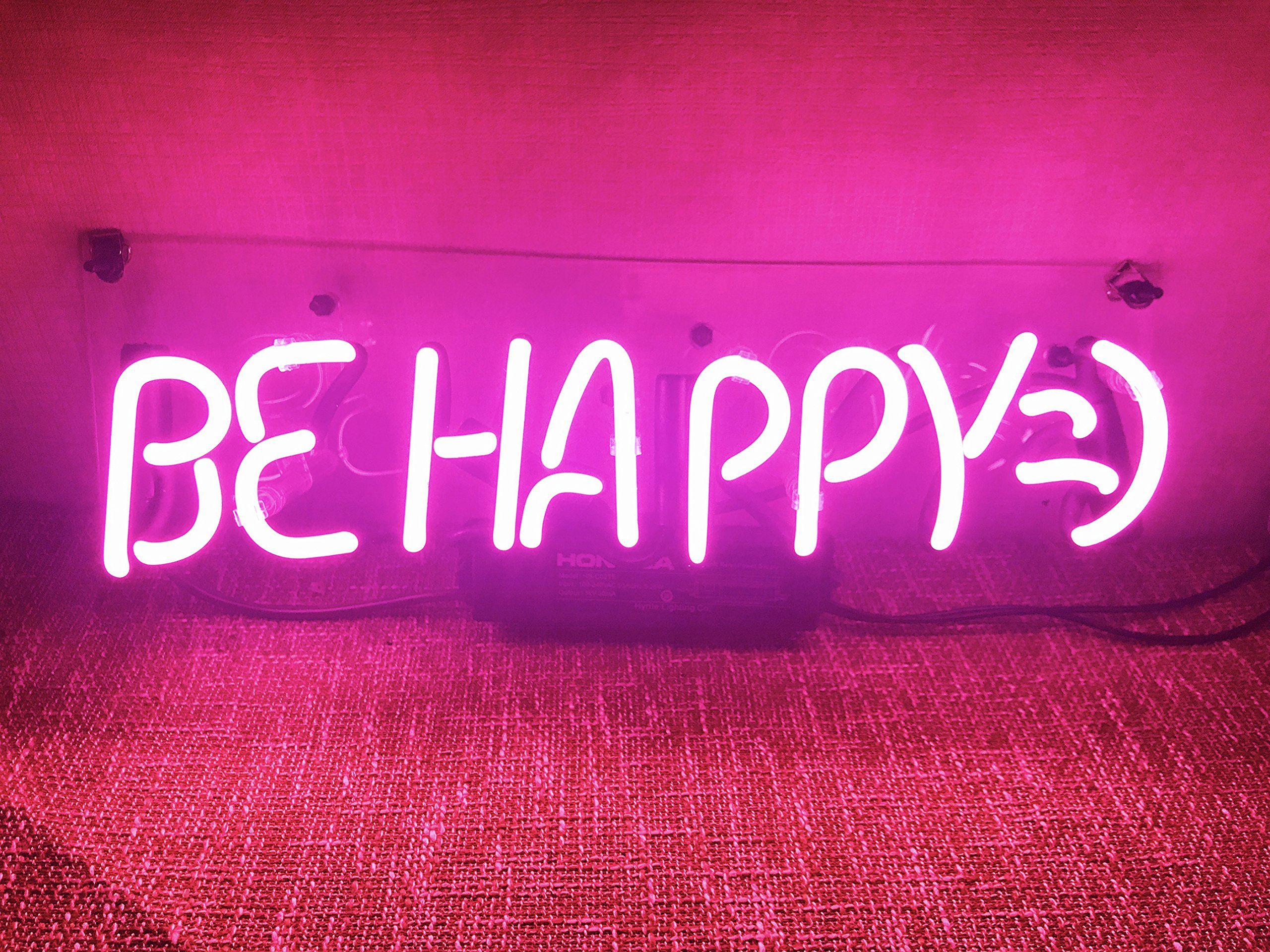 Funny Wall Sign Decor Neon Lights Bedroom Beer Bar Home Room Decor Girls Lamp Night Light Decorative Custom Pink - Be Happy