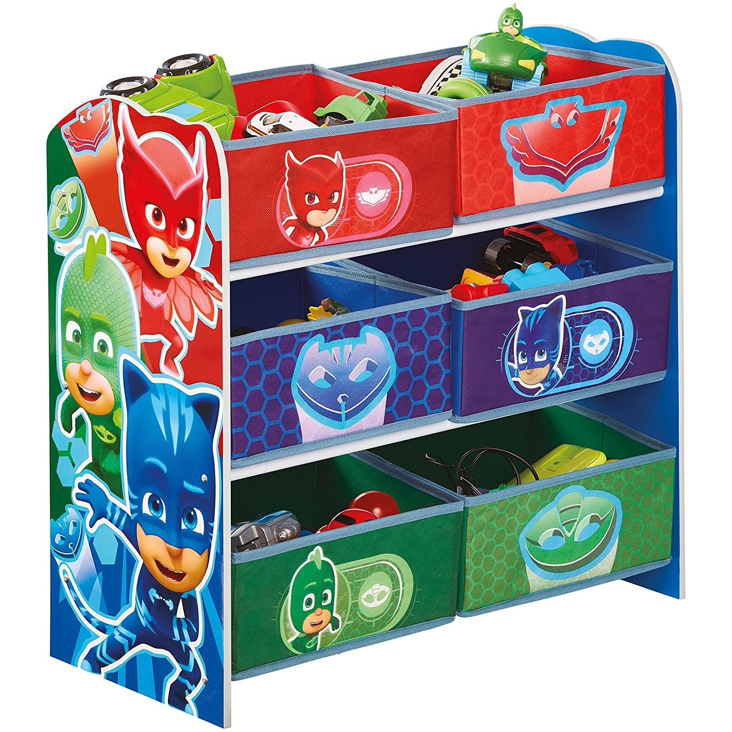 Hello Home Pj Masks Kids Bedroom Toy Storage Unit with 6 Bins, Wood, Multicoloured Worlds Apart 471PJM
