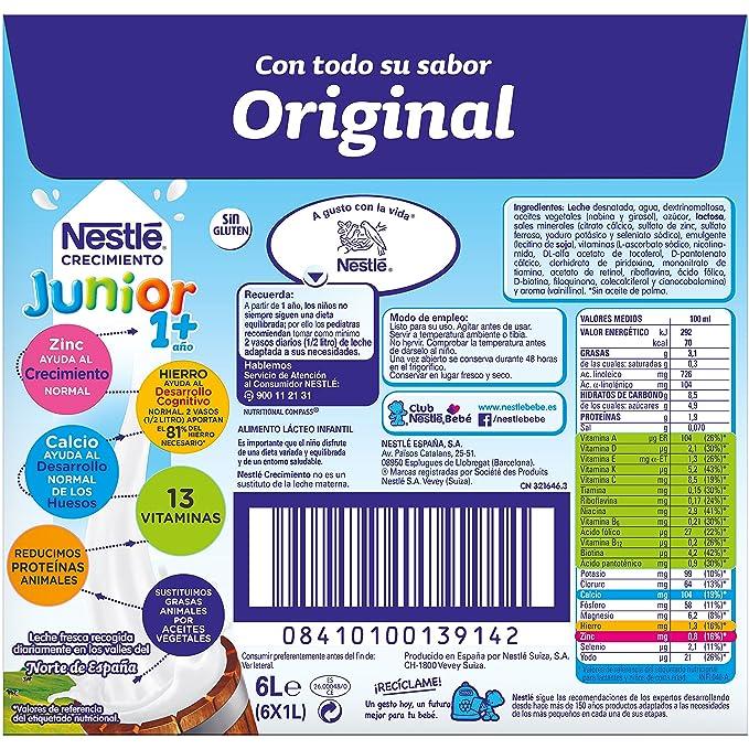Nestlé Junior - Crecimiento Original - sin gluten 6 x 1 l: Amazon.es: Alimentación y bebidas