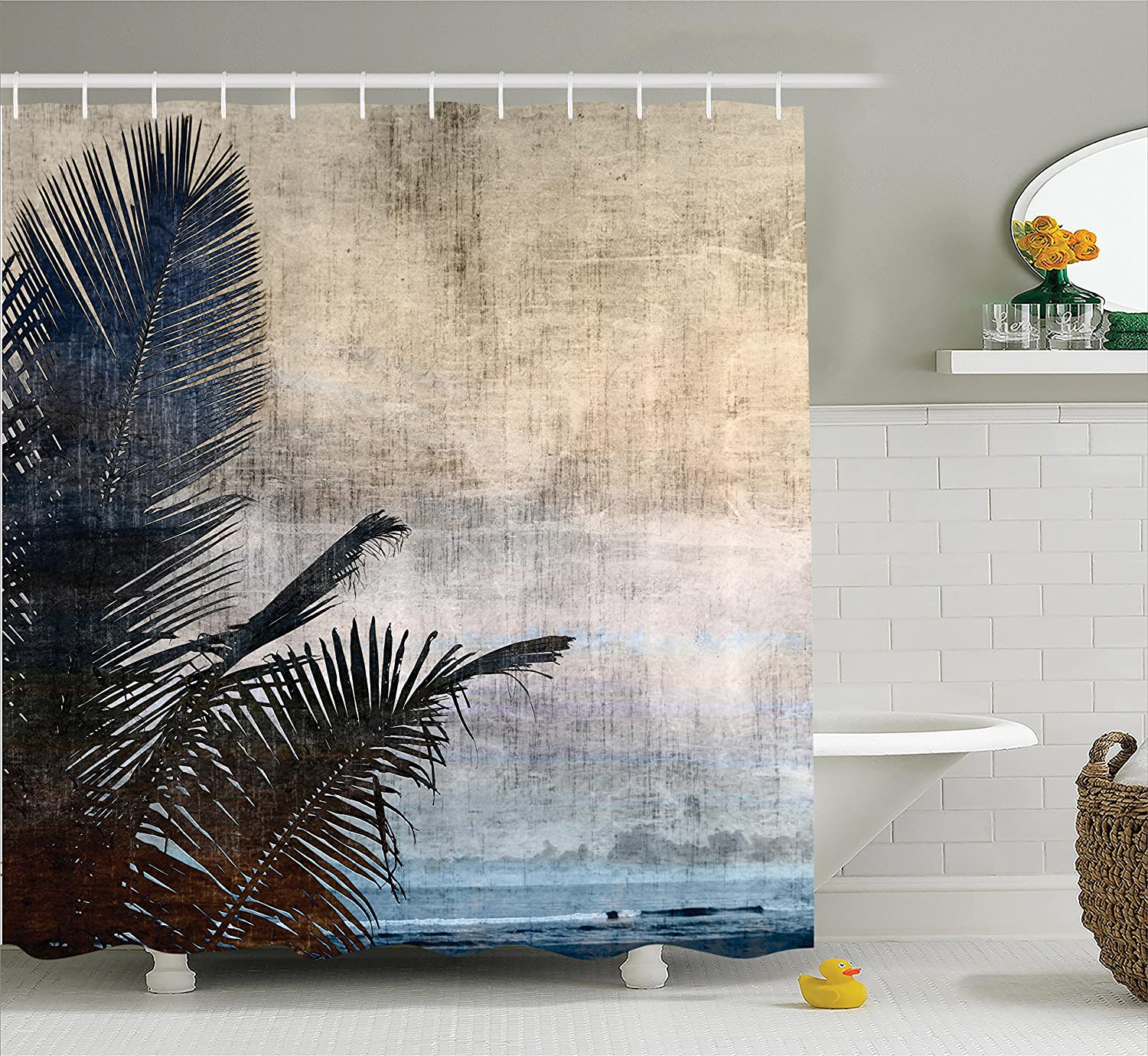 Ambesonne Hawaiian Decorations Shower Curtain Set, Palm Tree Leaves On Grunge Background with Sea Vintage Waterscape Illustration, Bathroom Accessories, 69W X 70L inches, Beige Navy