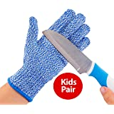 TruChef Kid Sized Cut Resistant Gloves for Meal Prep and Crafts Maximum EN388 Level 5 Protection From Knives, Scissors, Vegetable Peelers, Blue, Small