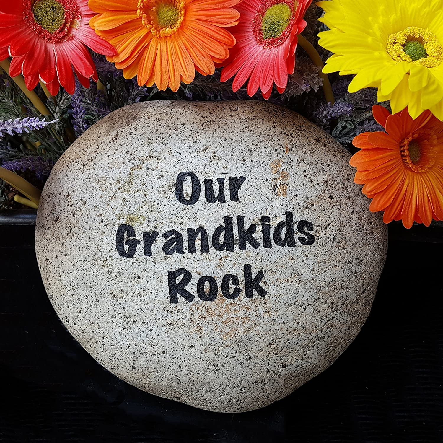 God Rocks Our Grandkids Rock Engraved Garden Stone