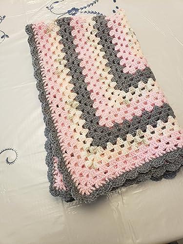 Amazoncom Granny Square Baby Blanket Pinkgrey Handmade