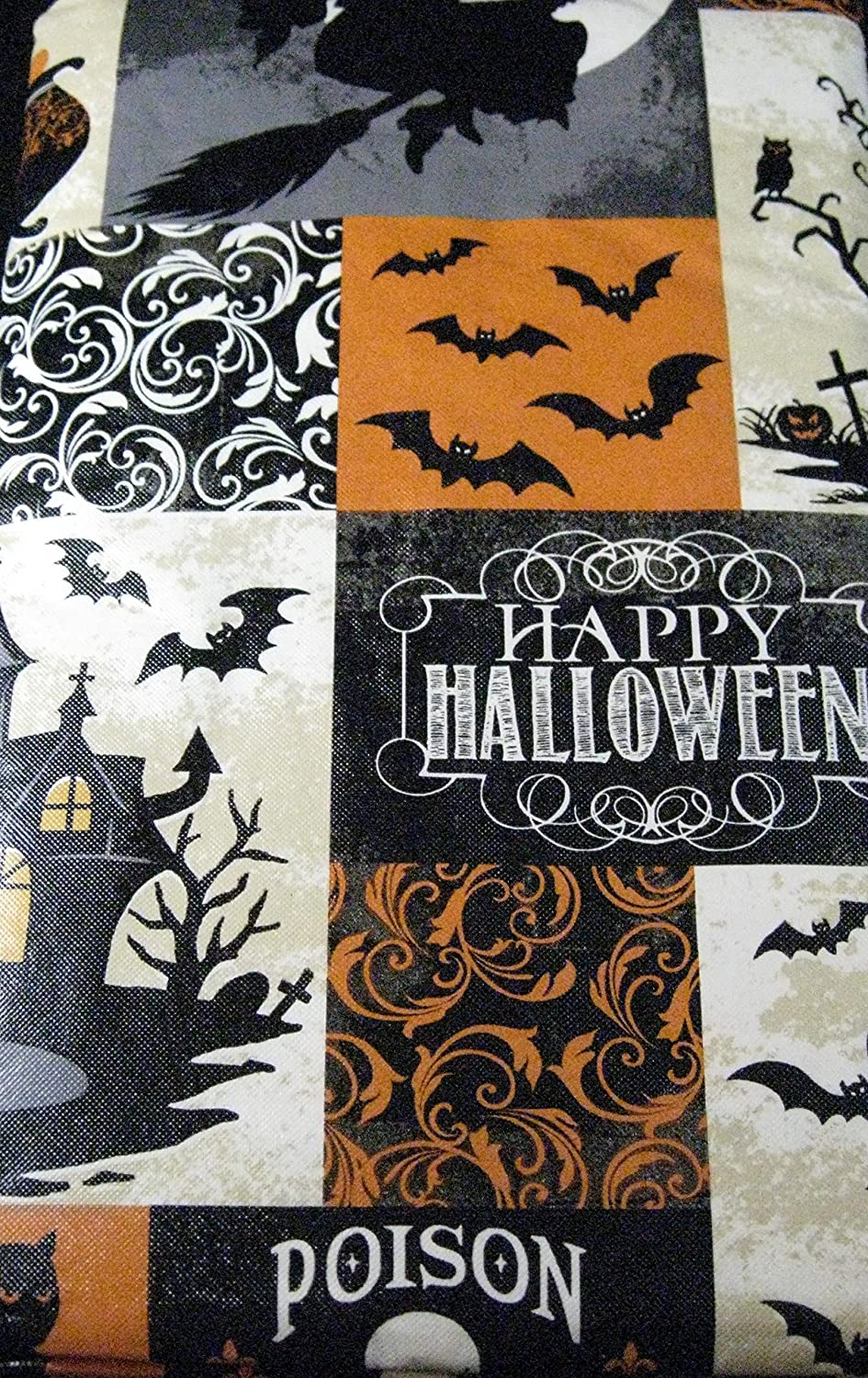 Halloween tablecloths - Amazon Com Haunted Halloween Flannel Back Vinyl Tablecloth By Elrene Assorted Sizes Up To 120 Inches Oblong And Round 52 X 70 Oblong Home Kitchen