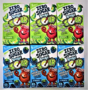 Kool-Aid On The Go! Zero Sugar Bundle 6 Flavored Drink Mix 3 Each Flavor Sour Apple & Sour Blue Raspberry