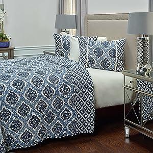 "Rizzy Home BQ4212 Quilt, 90""X92"", Blue/White/"