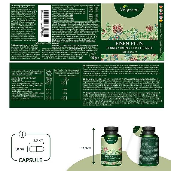 Hierro PLUS Vegavero®   Apto Para Veganos   Con Vitamina C + B12 + B2 + B6 + Ácido Fólico   120 Cápsulas   Anemia + Deficiencia + Menstruación + ...