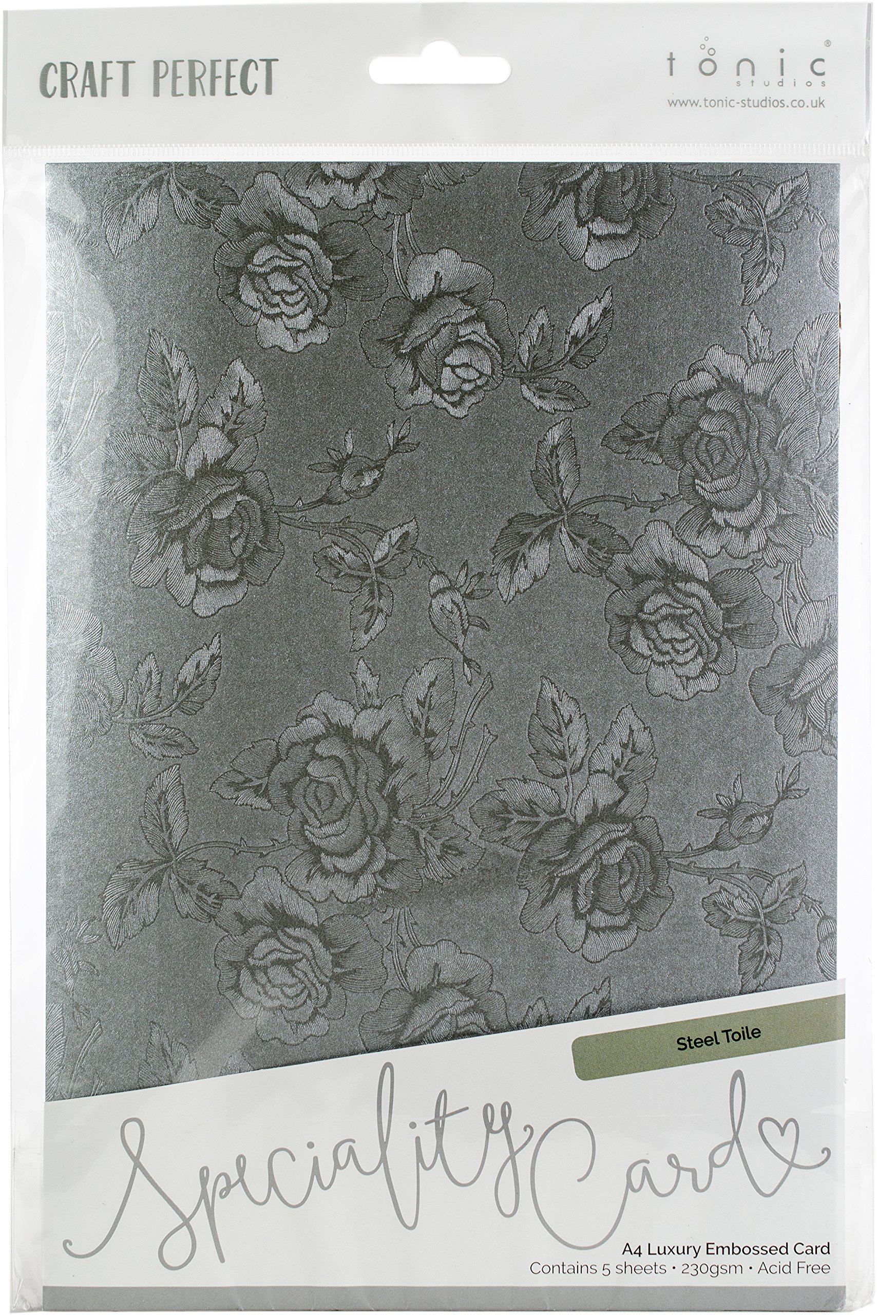 Tonic Studios 9820E Steel Toile Craft Perfect Luxury Embossed A4 Cardstock (5 Per Pack) Multicolor