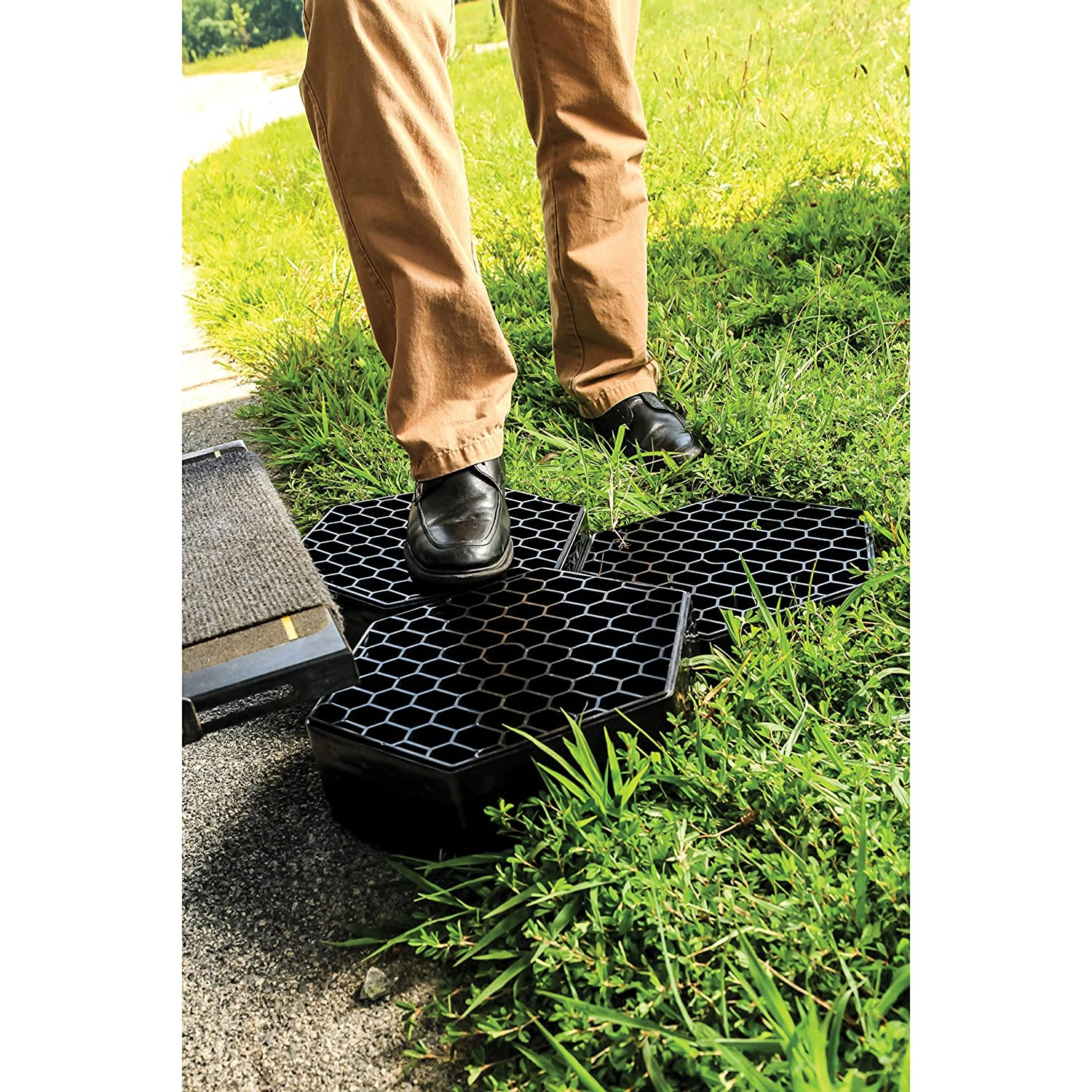 10-Pack Ideal Providing A Solid Stepping Surface Keeping Shoes Clean Green Camco Fastpath Portable Stepping Stones