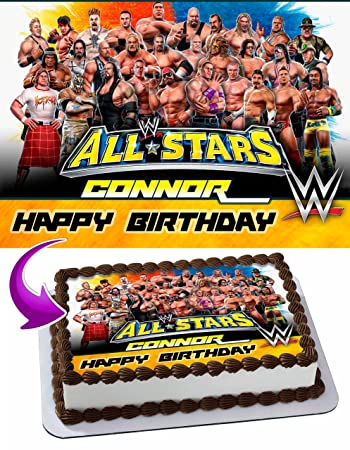 WWE WrestleMania Edible Cake Topper Personalized Birthday 1 4 Sheet Decoration Custom Party