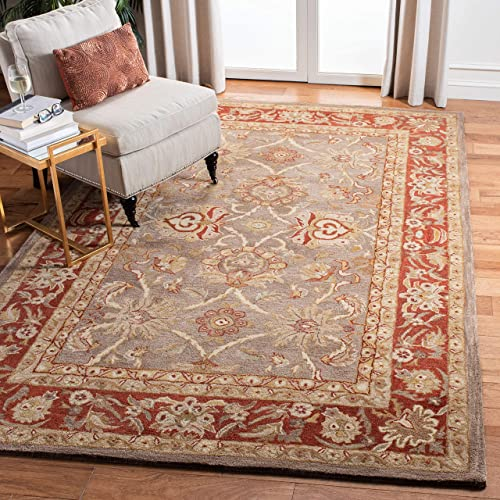 Safavieh Anatolia Collection AN529A Handmade Traditional Oriental Grey and Red Wool Area Rug 3 x 5
