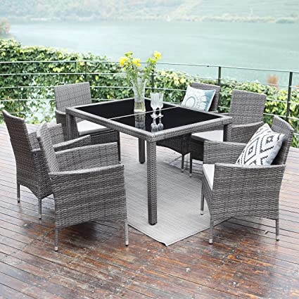 Wisteria Lane 7 Piece Patio Wicker Dining Set, Outdoor Rattan Dining  Furniture Glass Table Cushioned