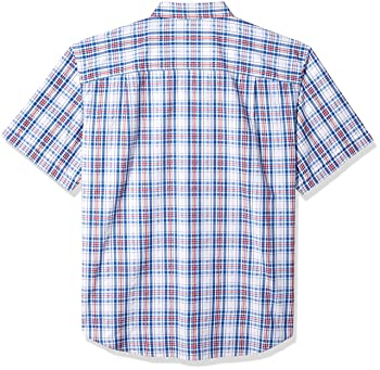 Men's Big and Tall Short Sleeve Plaid Seersucker Shirt