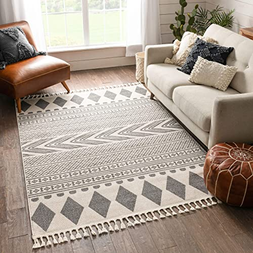 Well Woven Loop-De-Loop Cruce Tribal Moroccan Geometric Grey Kilim-Style 7'10″ x 10″6″ Area Rug
