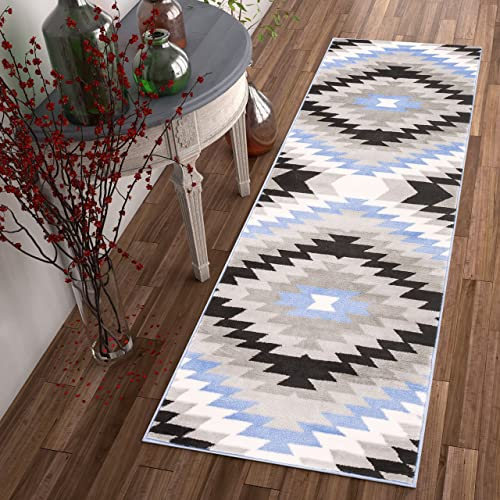 Well Woven Dusky Mesa Grey Blue Southwestern Modern Tribal Medallion Area Rug 2 x 7 2 3 x 7 3 Runner Easy Clean Stain Fade Resistant Shed Free Contemporary Thick Soft Plush Living Room Rug