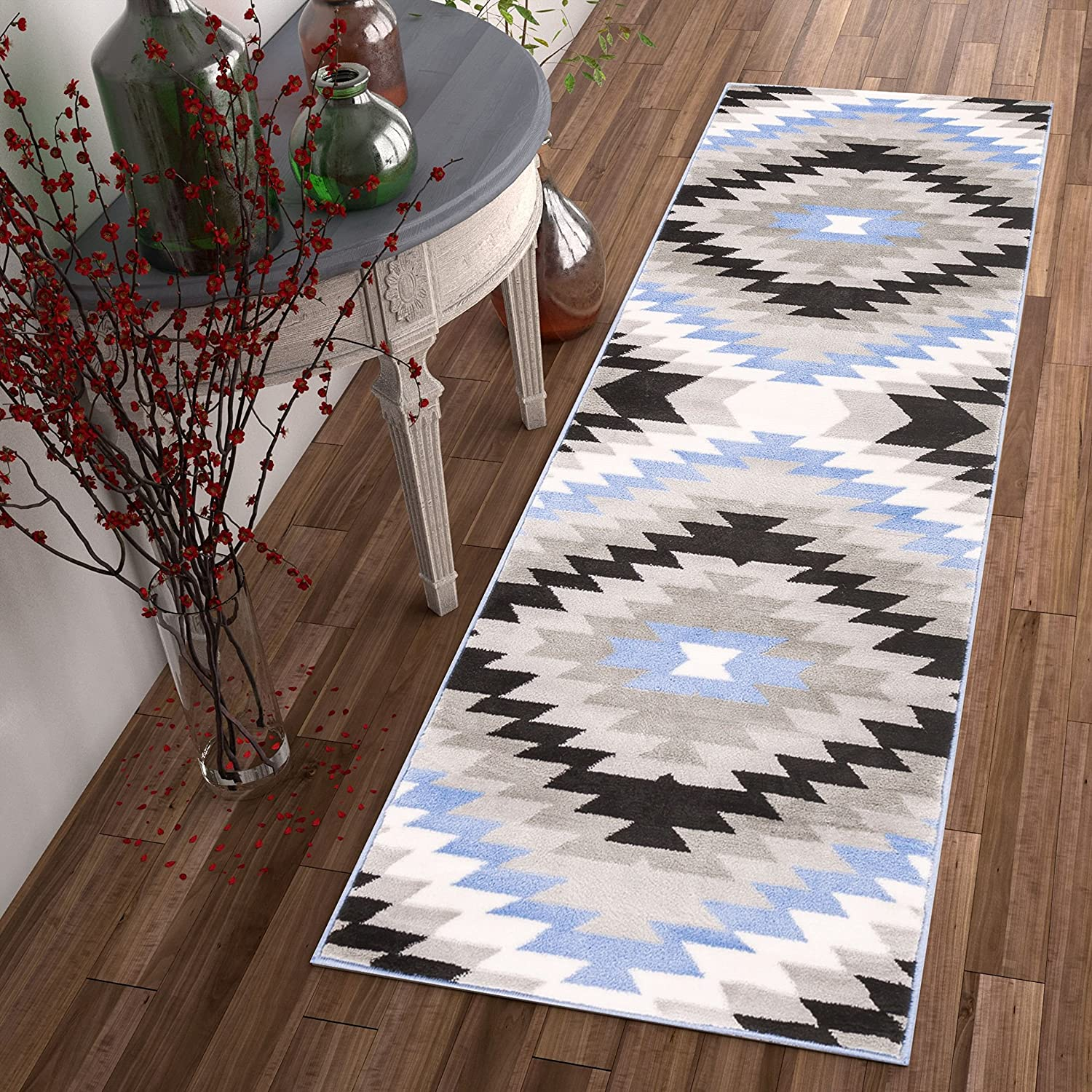 "Well Woven Dusky Mesa Grey & Blue Southwestern Modern Tribal Medallion Area Rug 2 x 7 (2'3"" x 7'3"" Runner) Easy Clean Stain Fade Resistant Shed Free Contemporary Thick Soft Plush Living Room Rug"