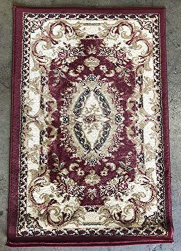 Deir Debwan Traditional Burgundy Green Beige Aubusson Door Mat Floral Persian 330,000 Point Area Rug Design 602 2 Feet X 3 Feet