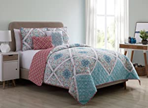 VCNY Home Windsor 5 Piece Reversible Quilt Cover Set, Queen, Multicolor, Multi