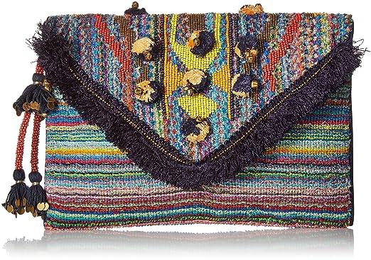 ca1941aef7d Steve Madden Pennie Tribal Geometric Bohemian Fabric Front Flap Pouch Clutch,  Multi