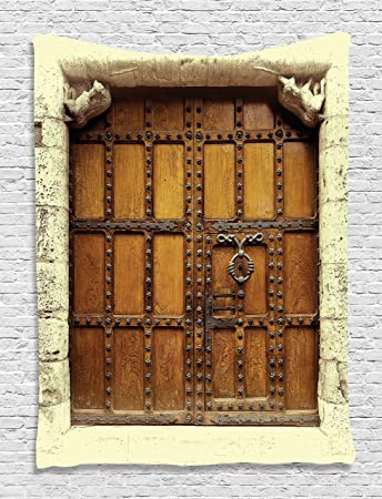 Door Tapestry Gothic Decor Old Medieval Wooden Door Gothic Vintage Style Sepia Toned Picture Digital Printed & Amazon.com: Door Tapestry Gothic Decor Old Medieval Wooden Door ...