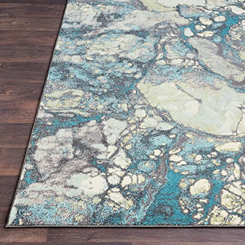 Kerry Gray, Blue and Green Modern Area Rug 5 2 x 7 6