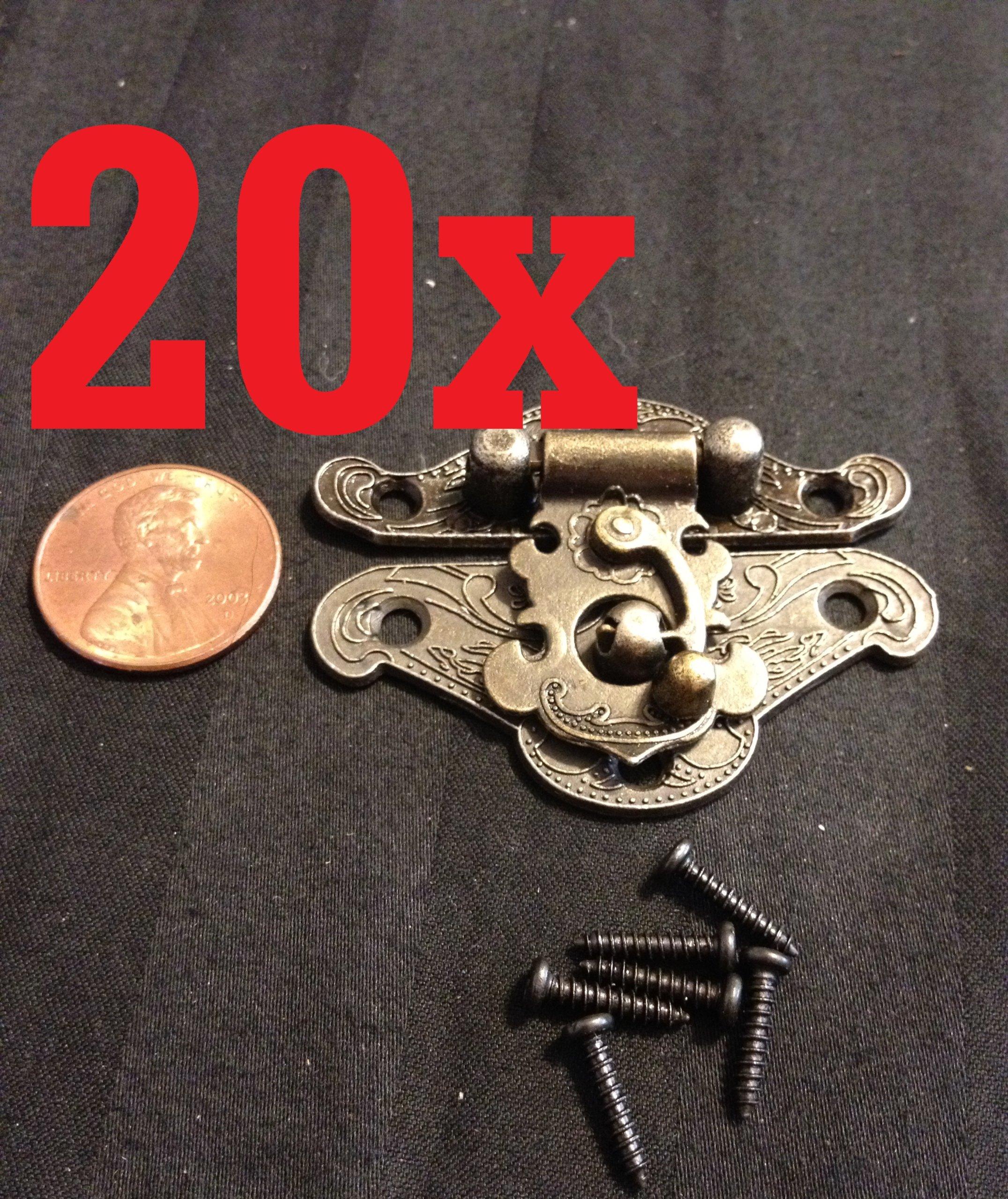 20x Mini Dollhouse Antique Bronze Wood Box Latch Sets Box Case Lock Hinge Small