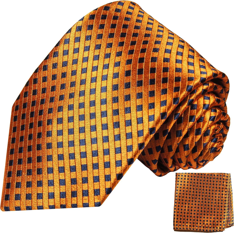 P.M. Krawatten Paul Malone Corbata de seda bronce naranja azul ...