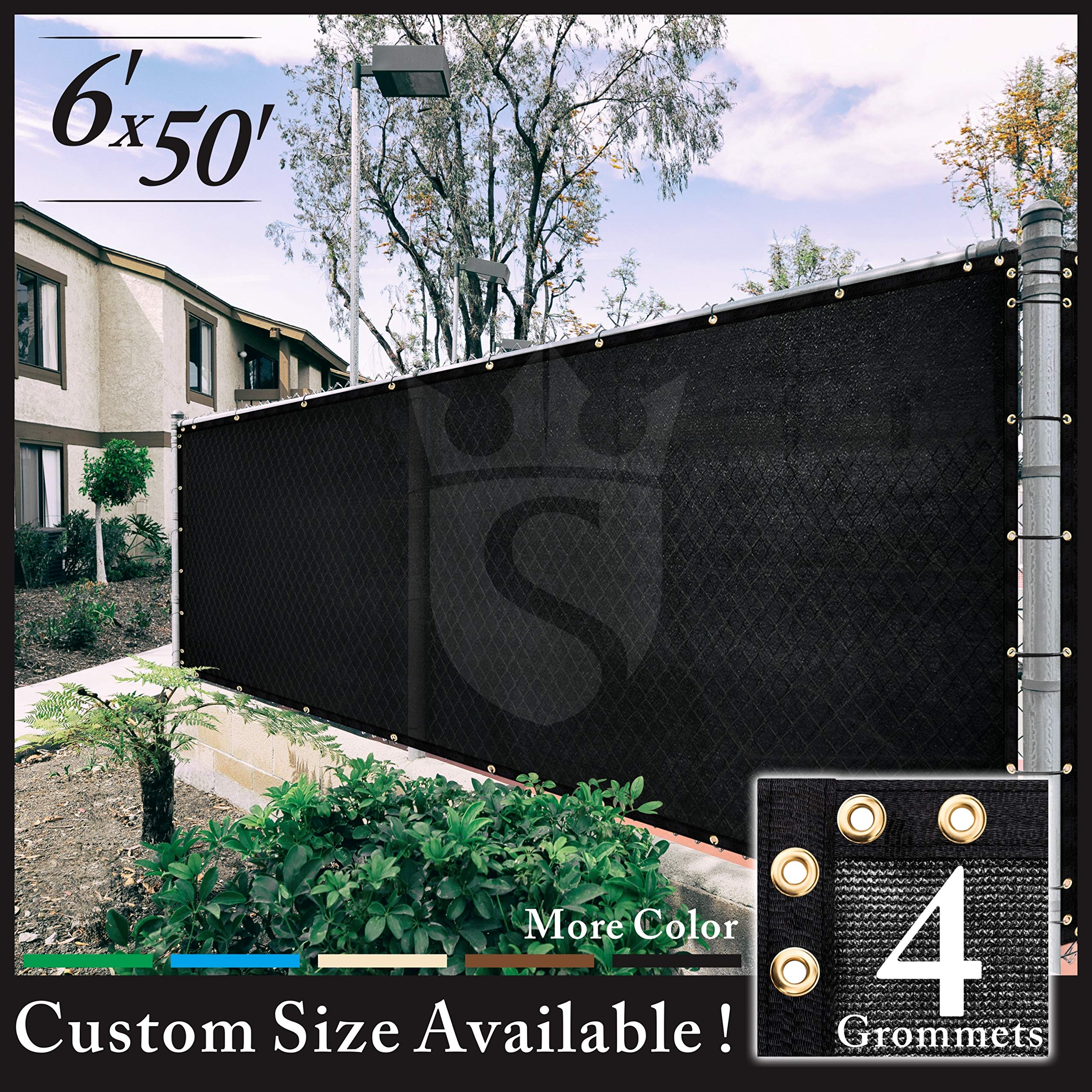 Royal Shade 6' x 50' Black Fence Privacy Screen Cover Windscreen, with Heavy Duty Brass Grommets, Custom Make Size