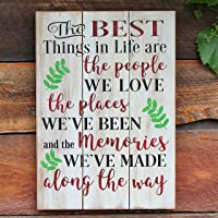 Inspirational Friends and Family Quote Rustic Wood Sign Wall Art Gift for Mom