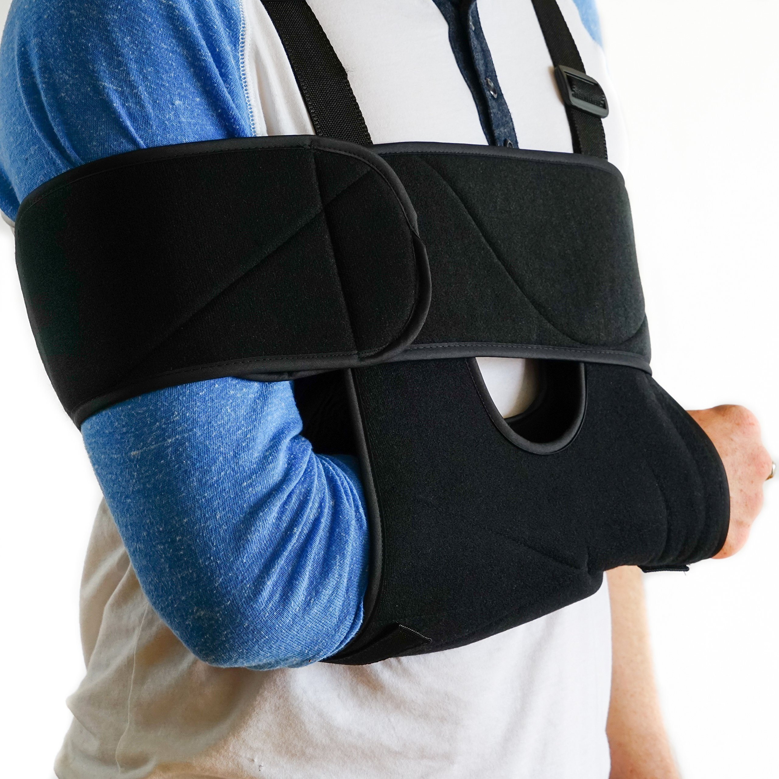 Medical Arm Sling Shoulder Brace | Best Fully Adjustable Rotator Cuff and Elbow Support | Includes Immobilizer Band for Quick Recovery | For Men and Women (Large)