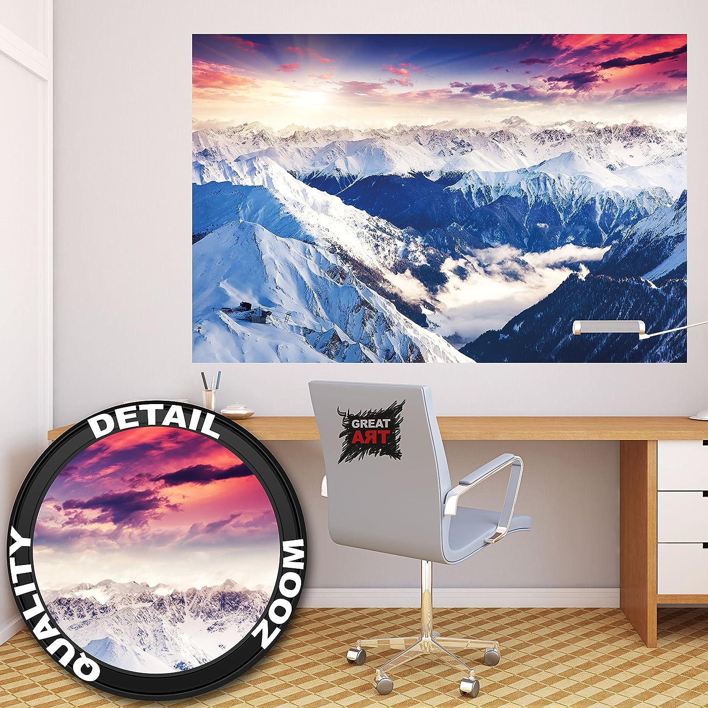 perfect affiche panoramique dualpes dcoration de peinture murale duhiver de neige et de coucher. Black Bedroom Furniture Sets. Home Design Ideas