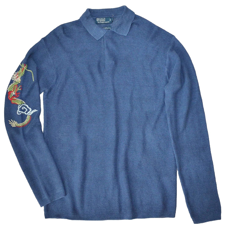 Polo Ralph Lauren Mens Linen Long Sleeve Blue Polo Shirt Large At